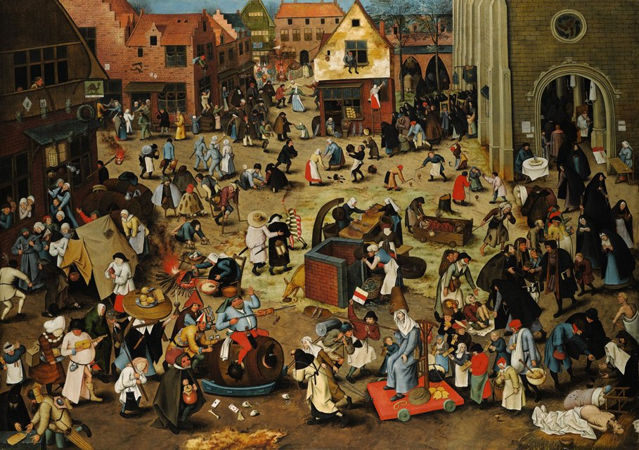 Pieter_Brueghel_the_Younger,_The_Battle_Between_Carnival_and_Lent._Oil_on_oak_panel._Sothey's